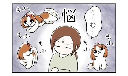 うーむ…。愛犬のもふもふ姿を思い浮かべて悩む飼い主