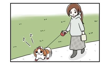 伸縮リード(フレキシリード)で公園を散歩する犬と飼い主