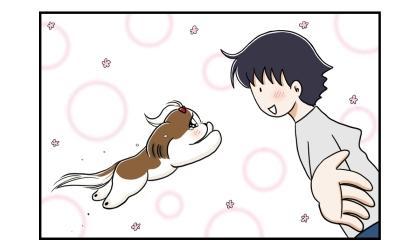 一日ぶりに会う犬と夫