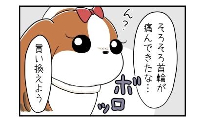 ボロボロの首輪をする犬。そろそろ首輪が傷んできたな…、買い換えよう
