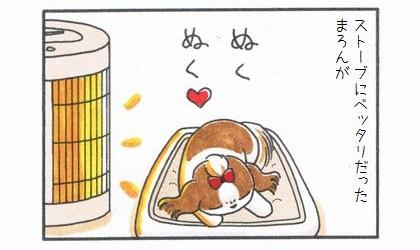 ストーブにベッタリだった犬が。犬がストーブの前でぬくぬくと寝る