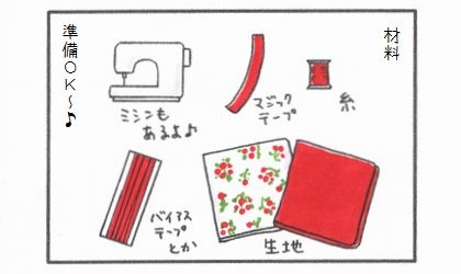 犬服作りの材料(糸、マジックテープ、生地、バイアステープとか、ミシンもあるよ)、準備OK~♪