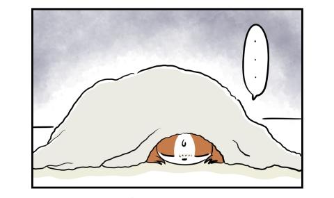 頭からすっぽりと毛布を掛けられた犬