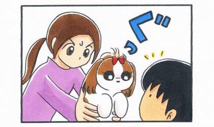 延々とマニアックな話を語る夫の前に犬を差し出す
