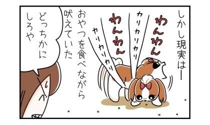 しかし現実は、犬はおやつを食べながら吠えていた。どっちかにしろや