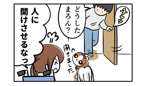 ドアを開ける夫、どうした?開きました、と犬。人に開けさせるなっ