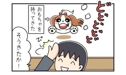 おもちゃをくわえて持ってきた犬。お出迎えの時に忘れたらしい。そうきたか!納得した夫