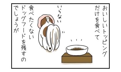 犬はおいしいトッピングだけを食べて、食べたくないドッグフードを残すのでしょうが
