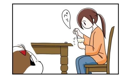 プリンを食べようとする飼い主。それを見る犬