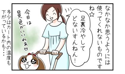 犬はなかなか思うようには使ってくれないものですね。足裏冷やしてどないすんねん!多少はカート内の温度が下がっているかも