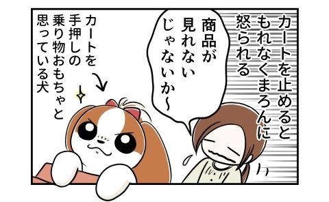 カートを止めるともれなく犬に怒られる。商品が見れないじゃないか~。カートを手押しの乗り物おもちゃと思っている犬