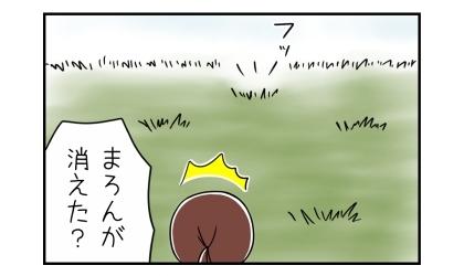雑草畑を走り回る犬が突然消えた?