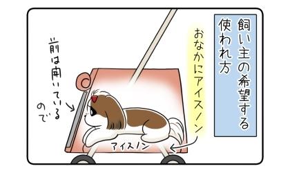 飼い主の希望する使われ方:カートの中で犬のお腹にアイスノン