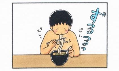 上半身裸でカレーうどんを食べる夫