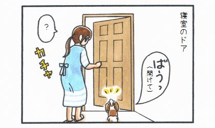 寝室のドアの前で、ドアを開けてと吠える犬。開けてやる飼い主