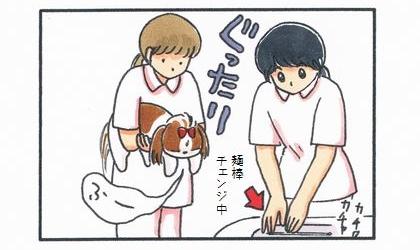 獣医さんは綿棒チェンジ中。犬は耳掃除されてぐったり