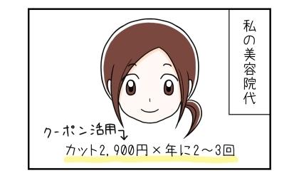 私の美容院代:カット2,900円(クーポン活用)×年に2~3回