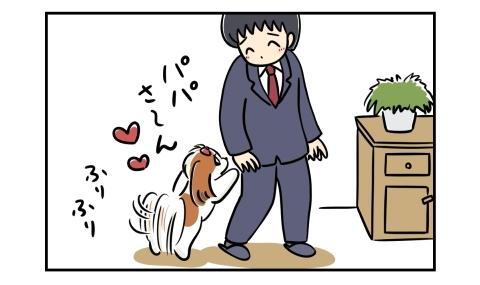 夫の帰宅にしっぽをふりふりと振る犬