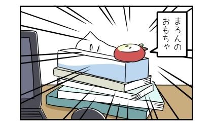 右手の本とティッシュの箱の上には犬のおもちゃが置いてあった