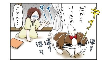 だから散歩に行くって言ったのにー!怒って床を掘る犬。ごめん、と謝る飼い主