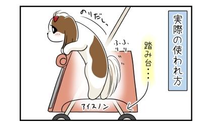 実際の使われ方:カートの中でアイスノンが犬の踏み台に