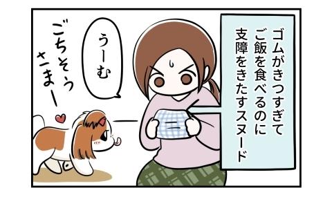 ゴムがきつすぎてご飯を食べるのに支障をきたす犬のスヌード。それを見ながら考える