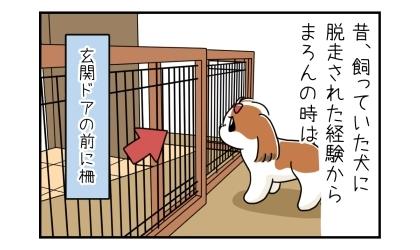 昔、飼っていた犬に脱走された経験から、今の犬の時は「玄関ドアの前に柵」
