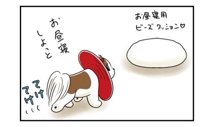 エリザベスカラーを付けた犬、ビーズクッションの上でお昼寝しようとする