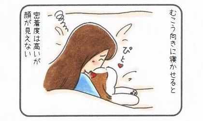 犬を向こう向きに寝かせると、密着度は高いが顔が見えない