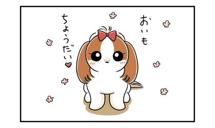 おいもちょうだい。かわいい顔でおねだりする犬