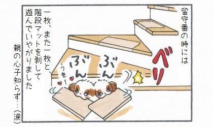 留守番の時には一枚、また一枚と犬が階段マットを剥がして遊んでいやがりました。親の心子知らず(涙)