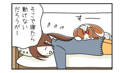うつぶせで寝ていた飼い主の背中の上に犬が乗って寝ていた。そこで寝たら動けないだろうが~