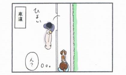 向こうからきた大きな犬を連れた飼い主さんが車道に出てよけてくれた。ん?