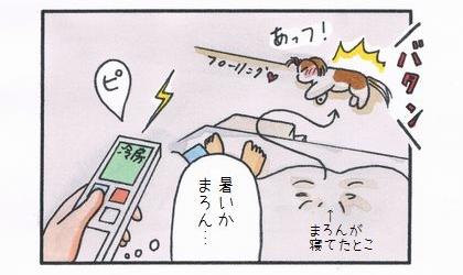犬が冷たい床(フローリング)の上で横になった。暑いか、とエアコンで冷房をつける飼い主