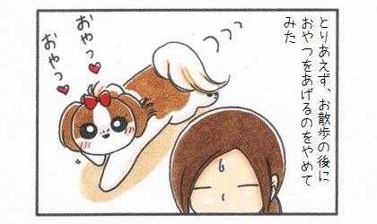 とりあえず、お散歩の後に犬におやつをあげるのをやめてみた。飼い主の後をついて回り、おやつを待つ犬