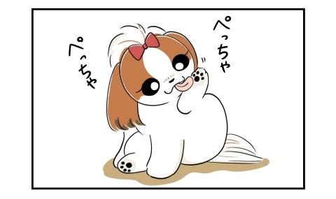 足をぺっちゃぺっちゃと舐める犬
