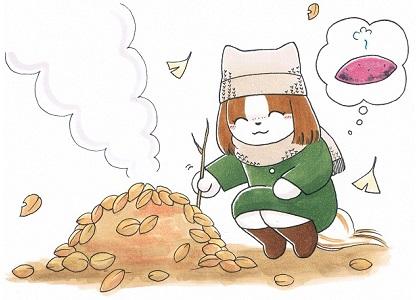 焼き芋を焼くシーズー