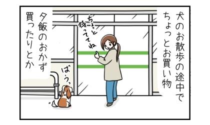 犬のお散歩の途中でちょっとお買い物。夕飯のおかず買ったりとか