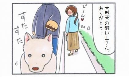 大型犬の飼い主さん、ありがとう!道を譲られてに感動した