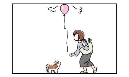犬に風船を渡そうと手を離したら、風船は天井まで上がっていってしまった