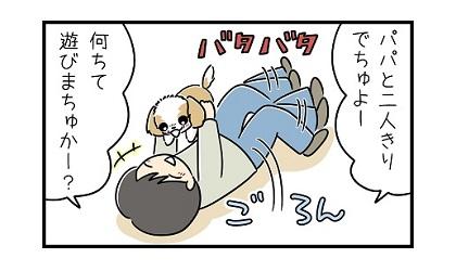 パパと子犬e 4コマ犬漫画 ぷりんちゃんねる