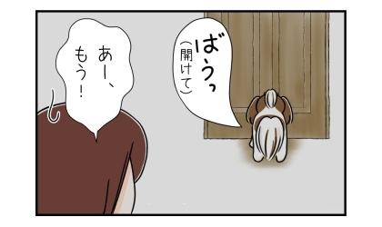 犬がドアの前で開けてと吠える。あー、もう!