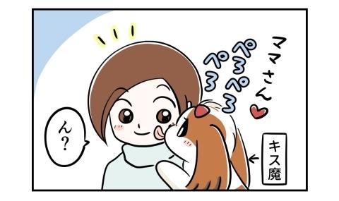 ママさん。キス魔の愛犬が顔をぺろぺろと舐めてきた。ん?