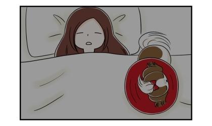 エリザベスカラーを付けた犬、飼い主の布団の上で寝る