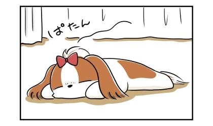 ぱたんと床の上で寝る犬
