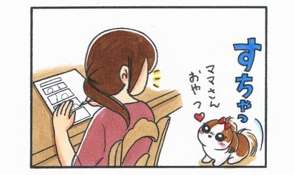 ダイニングテーブルで漫画を描いていたら、犬がおすわりしておやつをおねだり
